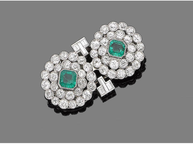 An emerald and diamond double-clip brooch,