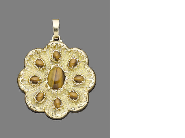 A gold and tiger's eye pendant, by Garrard,