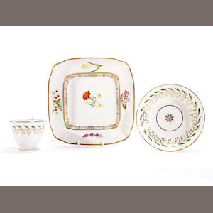 A Swansea mouded square dessert dish and a Swansea cup and saucer, circa 1815-17