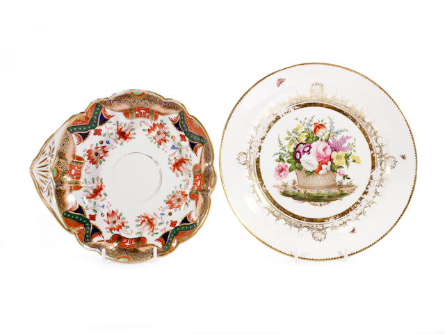 A Swansea plate from the Burdett-Coutts service and a Swansea shell-shaped dessert dish, circa 1815-17