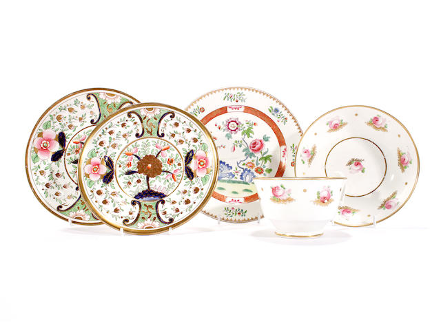 A Swansea breakfast cup and saucer, a Swansea plate and two Swansea dishes, circa 1815-17
