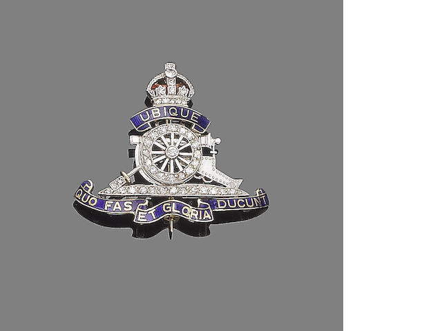 A royal artillery enamel and diamond sweetheart brooch,