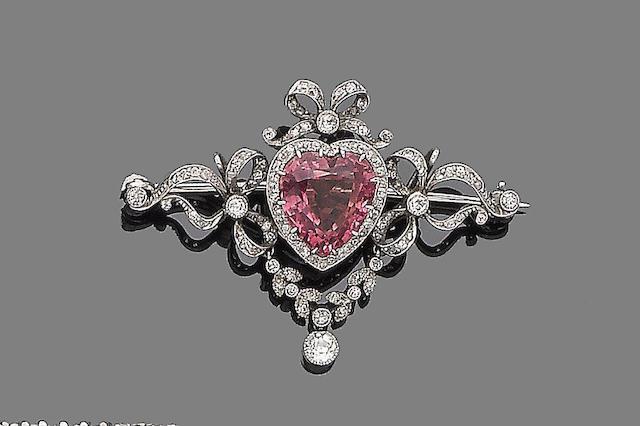 A tourmaline and diamond brooch
