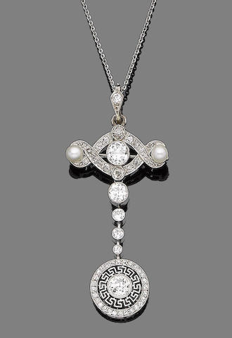 A pearl and diamond brooch/pendant necklace,