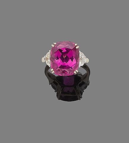 A tourmaline and diamond ring
