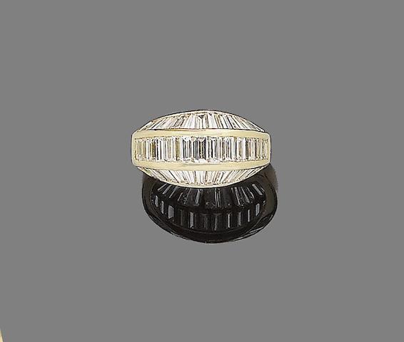 A diamond half-hoop ring, by Cartier