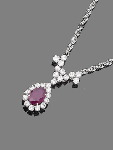 A ruby and diamond choker