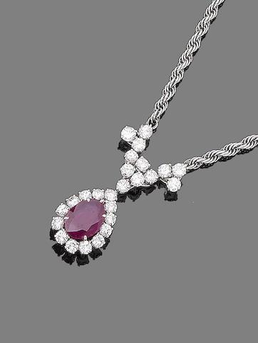 A ruby and diamond choker
