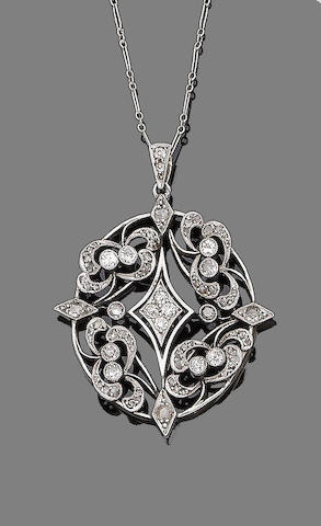 A late 19th century diamond-set pendant necklace