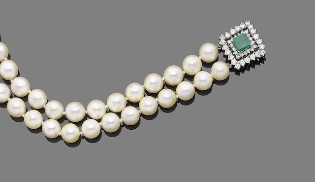 A double-row cultured pearl, emerald and diamond necklace