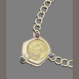 A gem-set coin necklace