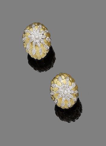 A pair of diamond-set earclips
