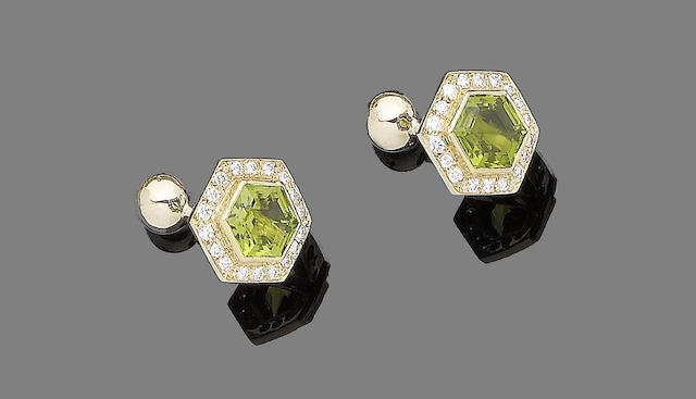 A pair of tourmaline and diamond cufflinks