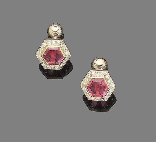 A pair of pink tourmaline and diamond cufflinks