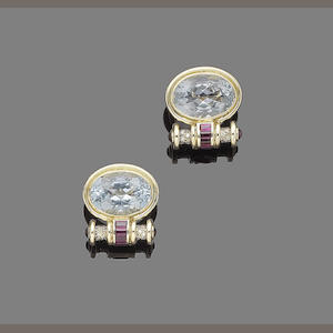 A pair of aquamarine, ruby and diamond earrings, by Annabel Jones,