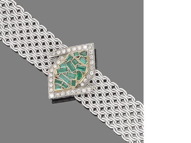 An emerald and diamond wristwatch, by Omega,