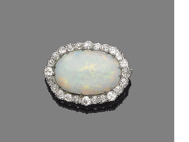 A late 19th century opal and diamond cluster brooch