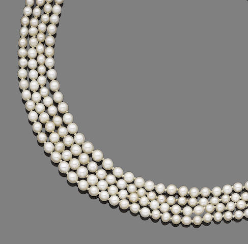 A four-strand pearl and diamond necklace