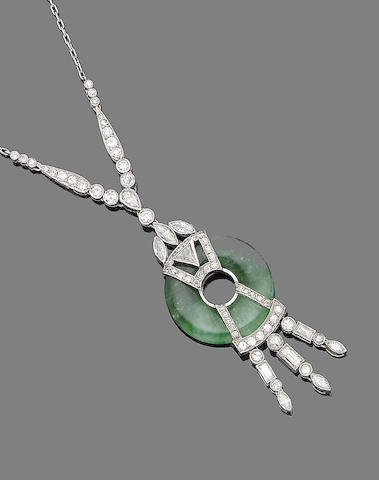 A jade and diamond pendant necklace,