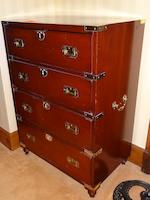An 18th century style mahogany campaign secretaire chest