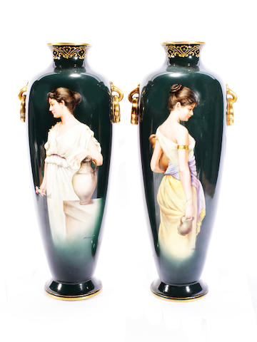A pair of Royal Bonn vases, circa 1900