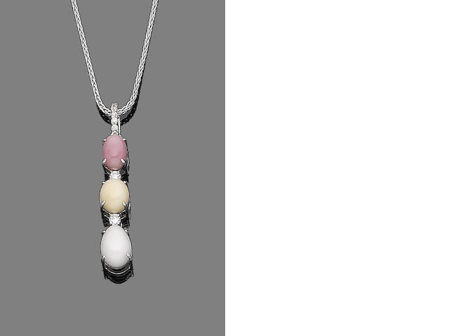 A natural pearl, conch pearl and diamond pendant necklace