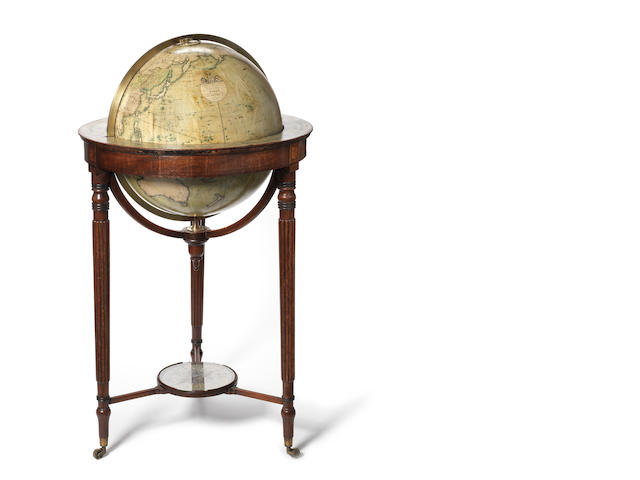 A John Smith 18-inch terrestrial library globe,  English,  1820-29,