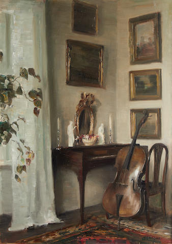 Carl Vilhelm Holsøe (Danish, 1863-1935) Interior with cello