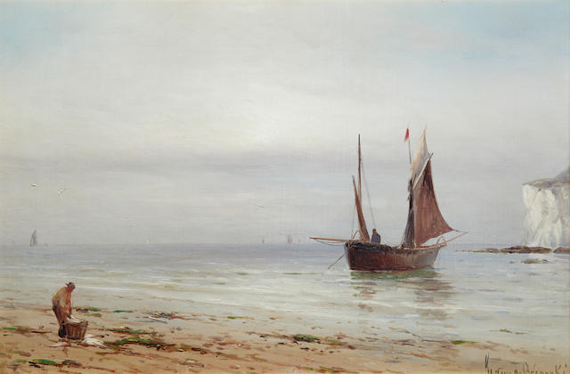 Gustave de Breanski (British, Circa 1856-1898) Fishing off the Dorset coast