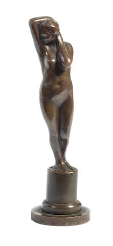 A 'Female Nude' bronze, by Charles Sykes, circa 1905,
