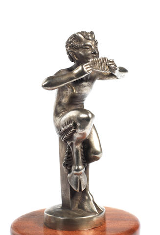 A 'Satyr Pipe-Player' mascot, by Mic, French, 1920s,