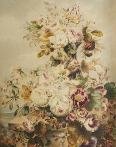 Thomas Holland (British, 1795-1865) Still life of flowers, a pair