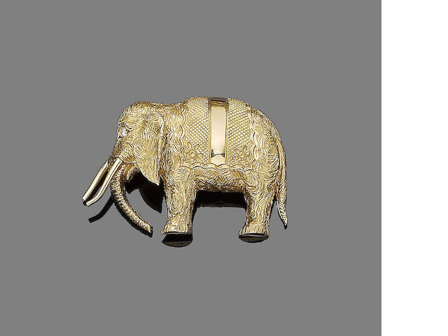 An elephant brooch, by Hermès