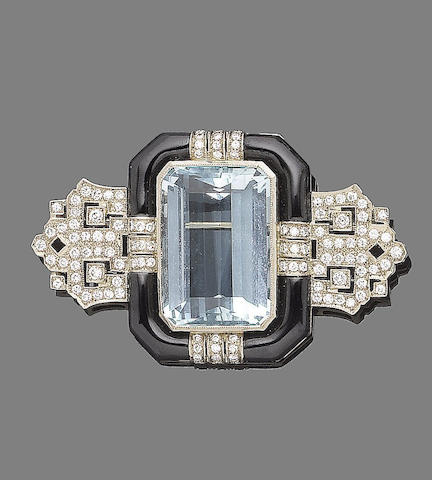 An aquamarine, enamel and diamond brooch