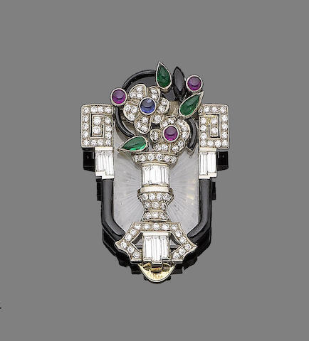 A ruby, emerald, sapphire, enamel and diamond clip brooch,