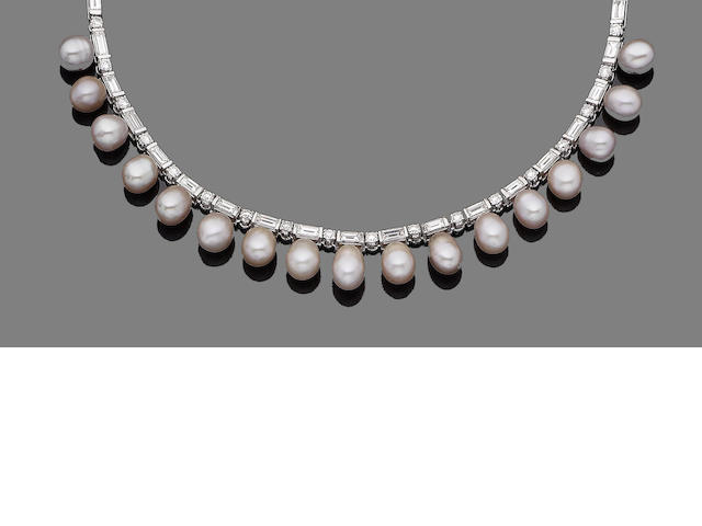 A cultured freshwater  pearl and diamond necklace