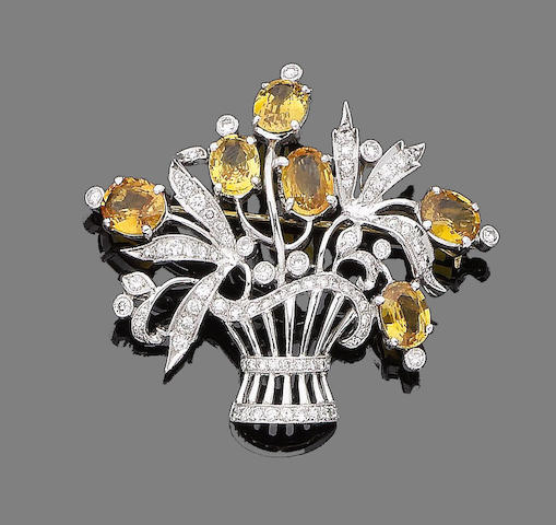A yellow sapphire and diamond giardinetto brooch