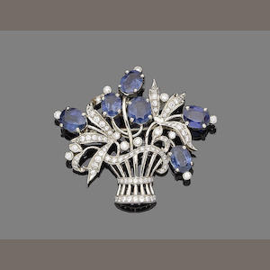 A sapphire and diamond giardinetto brooch