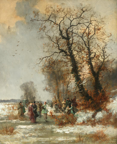 Louis  Beroud (French, 1852-1930) A skating party