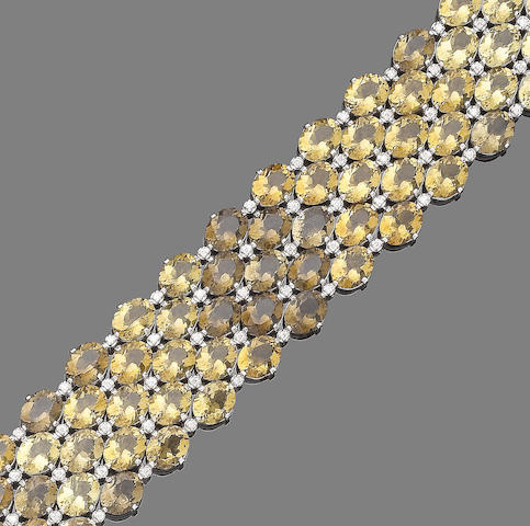 A citrine and diamond bracelet