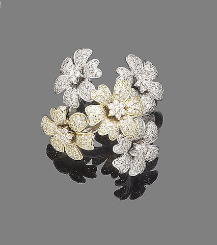 A diamond-set floral ring