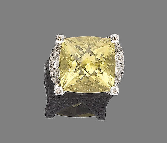 A heliodor and diamond dress ring, by Steven Stone for Ritz Fine Jewellery, unsigned