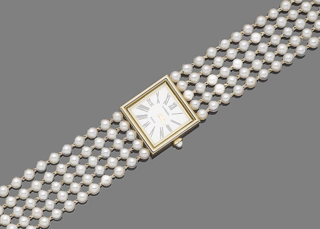 A gold and cultured pearl wristwatch, by Chanel,