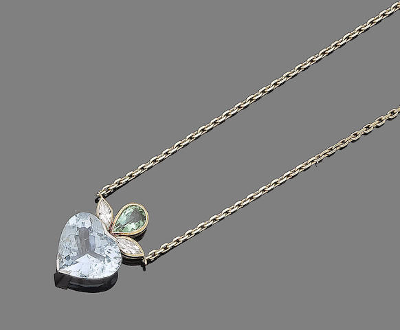 An aquamarine, tourmaline and diamond pendant necklace