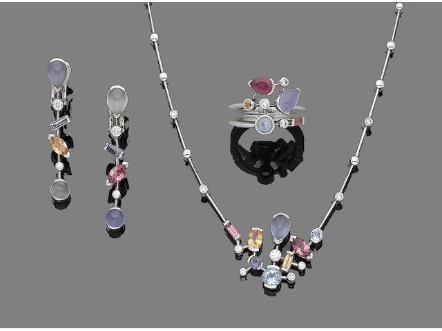 A gem-set 'Meli Melo' necklace, earrings and ring suite, by Cartier (3)