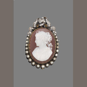 A pearl, hardstone and diamond cameo brooch,