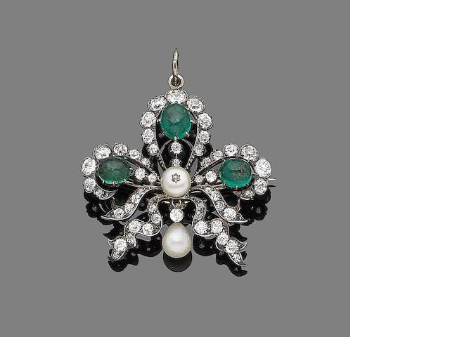 A late 19th century emerald, pearl and diamond brooch/pendant