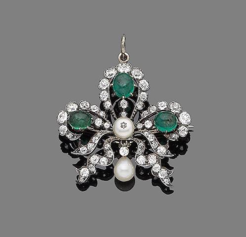A late 19th century emerald, pearl and diamond brooch/pendant