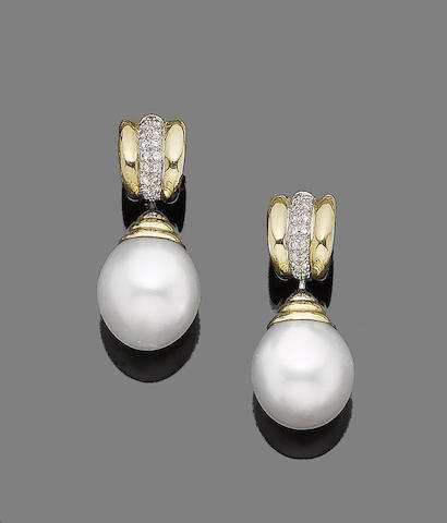 A pair of cultured pearl and diamond-set pendent earrings