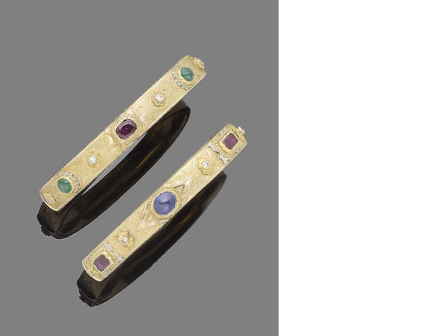 Three gem-set hinged bangles (3) (partially illustrated)